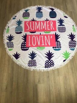 Serviette de plage ronde summer lovin ananas Plage
