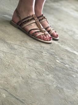 Sandales plates camel à brides imprimée animal Sandales