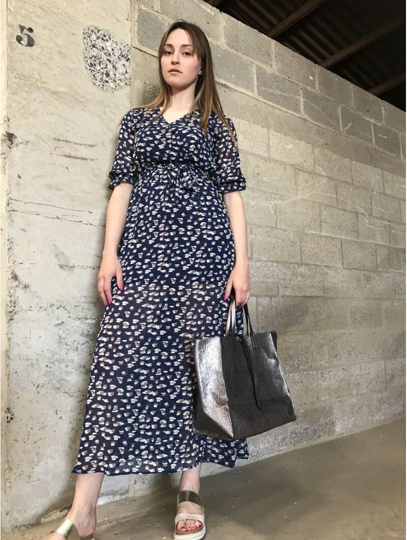 Robe longue imprimée léopard marine Robes