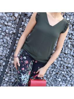 Pantalon place du jour fleuri noir Pantalons & Jeans