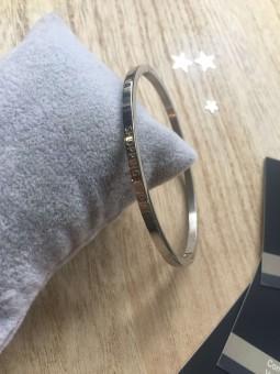 """""""Shopping addict"""" Bracelet métal texte"""