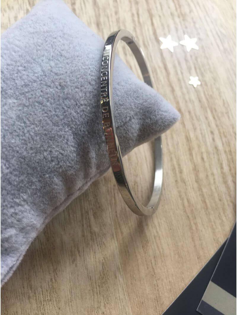 """""""Concentré de bonheur"""" Bracelet métal texte"""