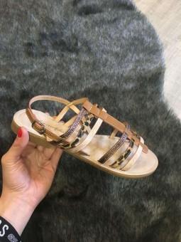 Sandales plates camel à brides imprimée animal