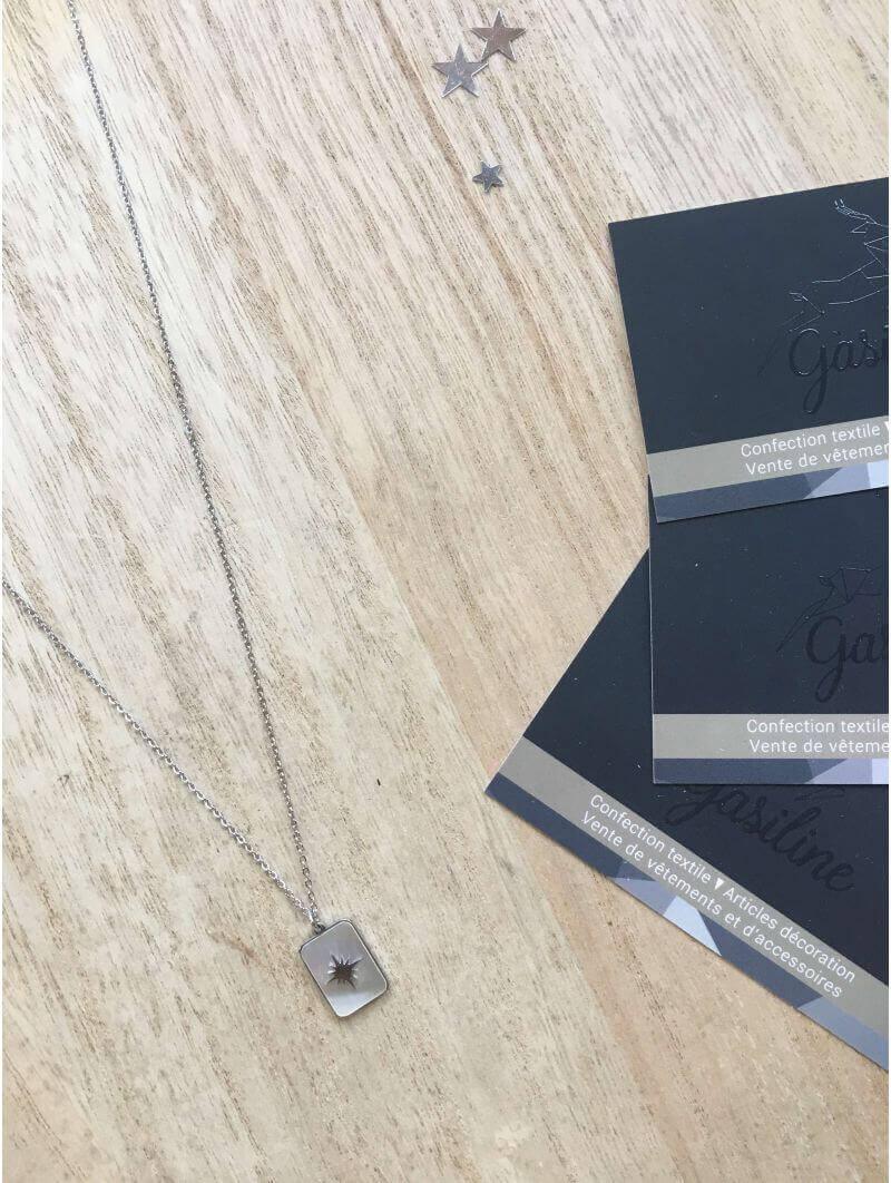 Collier chainette pendentif nacre blanche